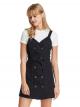 鈕釦斜紋圍裙款式連身裙